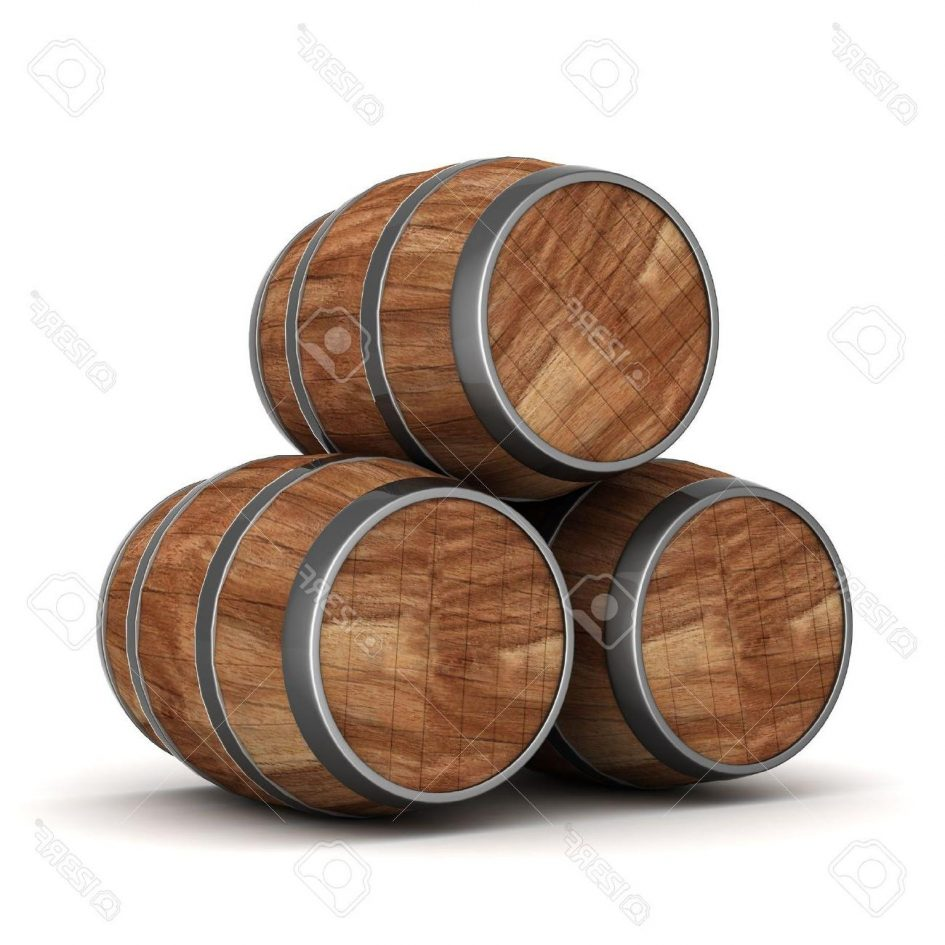 Vector Graphics Best Image Of The Old Oak Barrels On White.