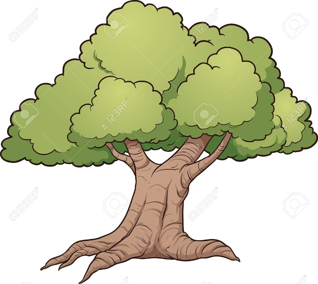 Cartoon oak tree. Vector clip art illustration with simple gradients.