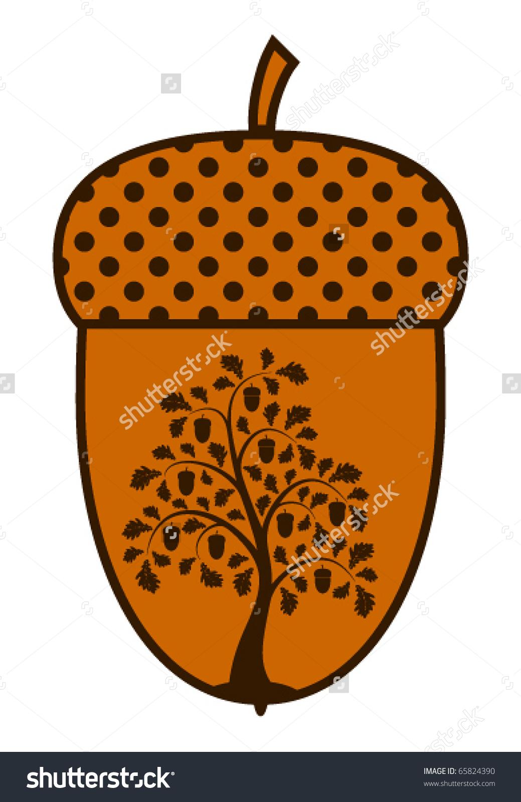 Vector Oak Tree Acorn On White Stock Vector 65824390.