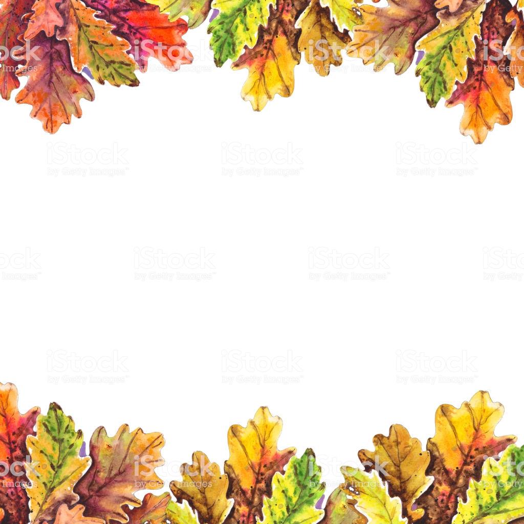 Oak Leaf Border Stock Illustration.
