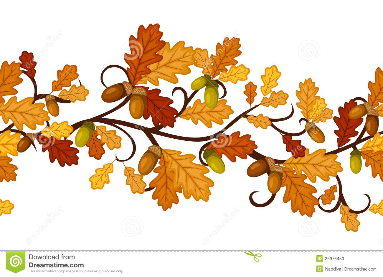 Horizontal Seamless Pattern With Autumn Oak Leaves Stock.