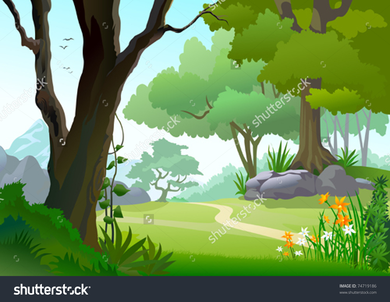 oak tree forest clipart backgrounds clipground