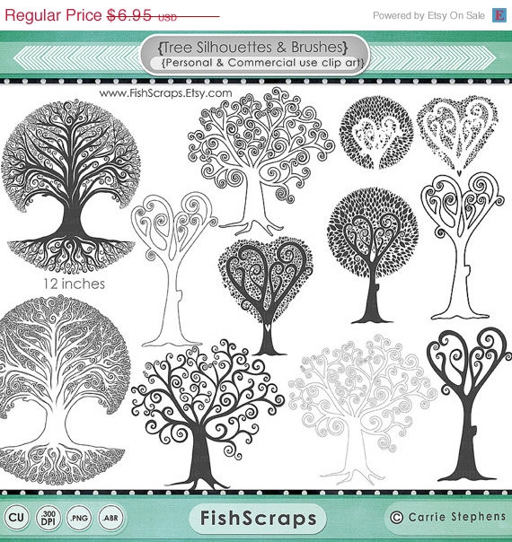 75% SALE Whimsical Tree Clip Art, Tree of life Silhouette.
