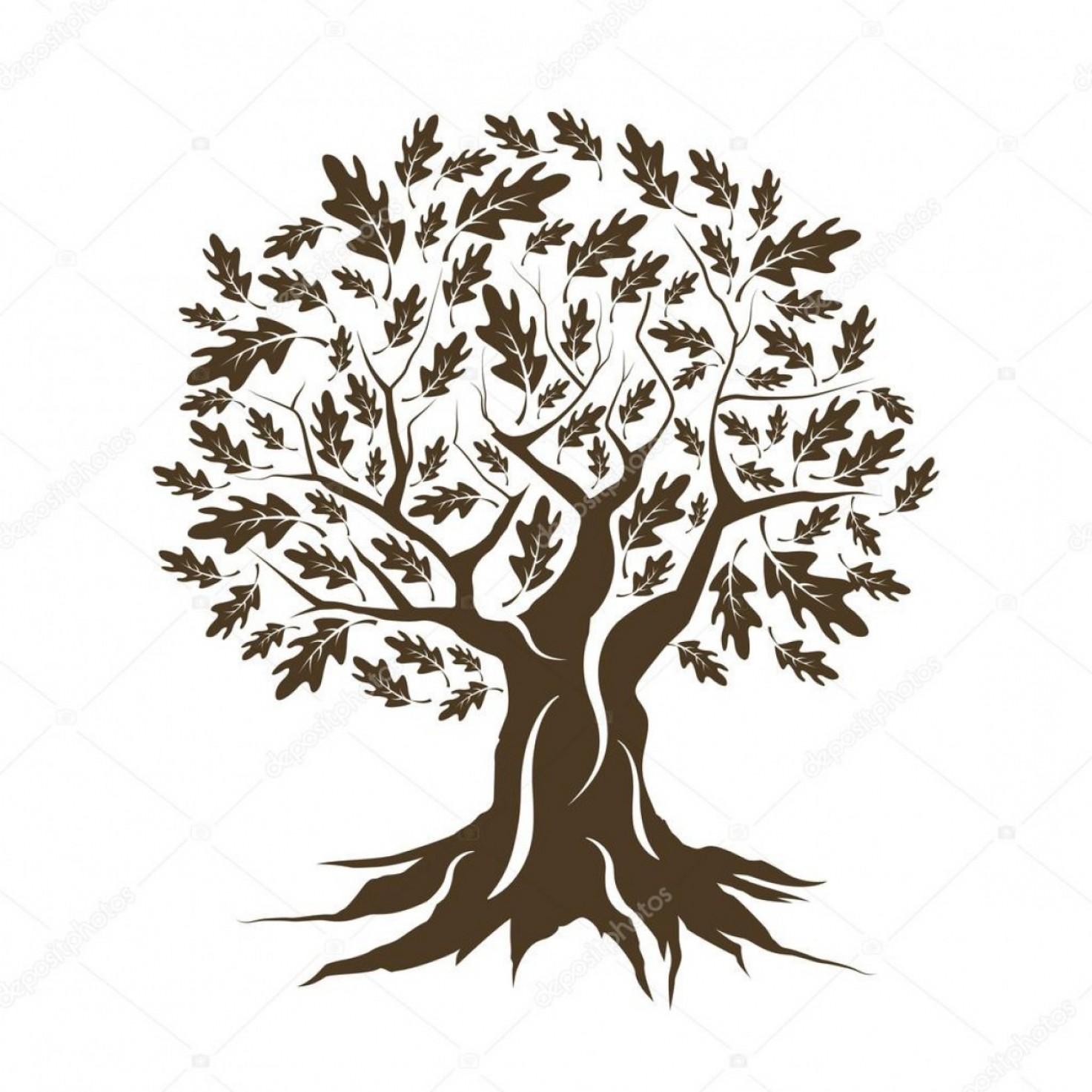 Stock Illustration Beautiful Brown Oak Tree Silhouette.