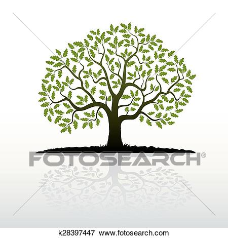 Color Oak Tree Clip Art.