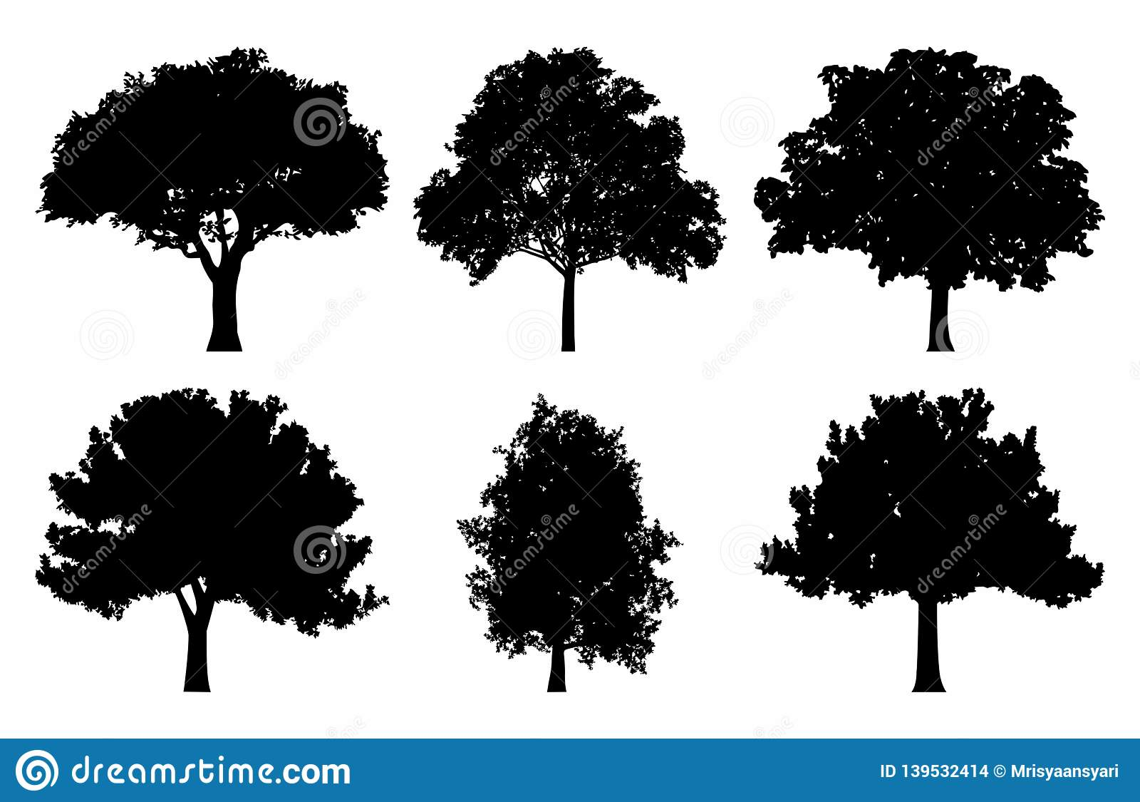 Oak Tree Silhouette Collections Set Stock Vector.