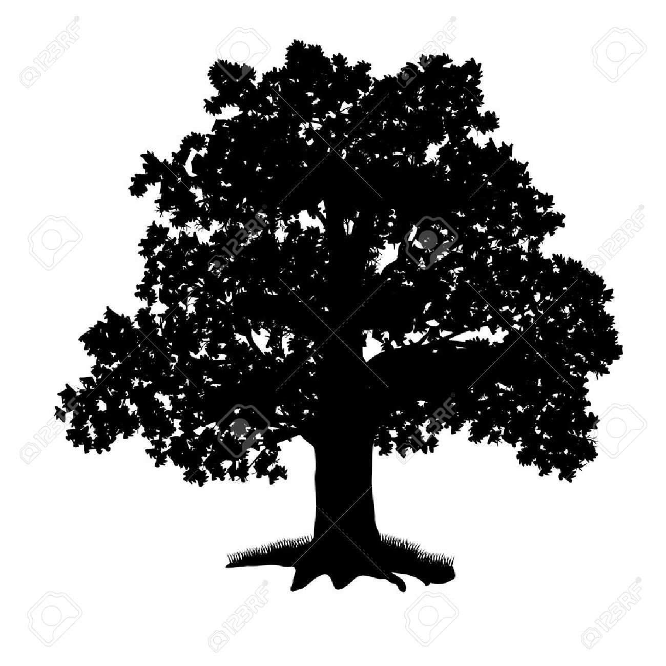 Oak Tree Silhouette Clip Art.