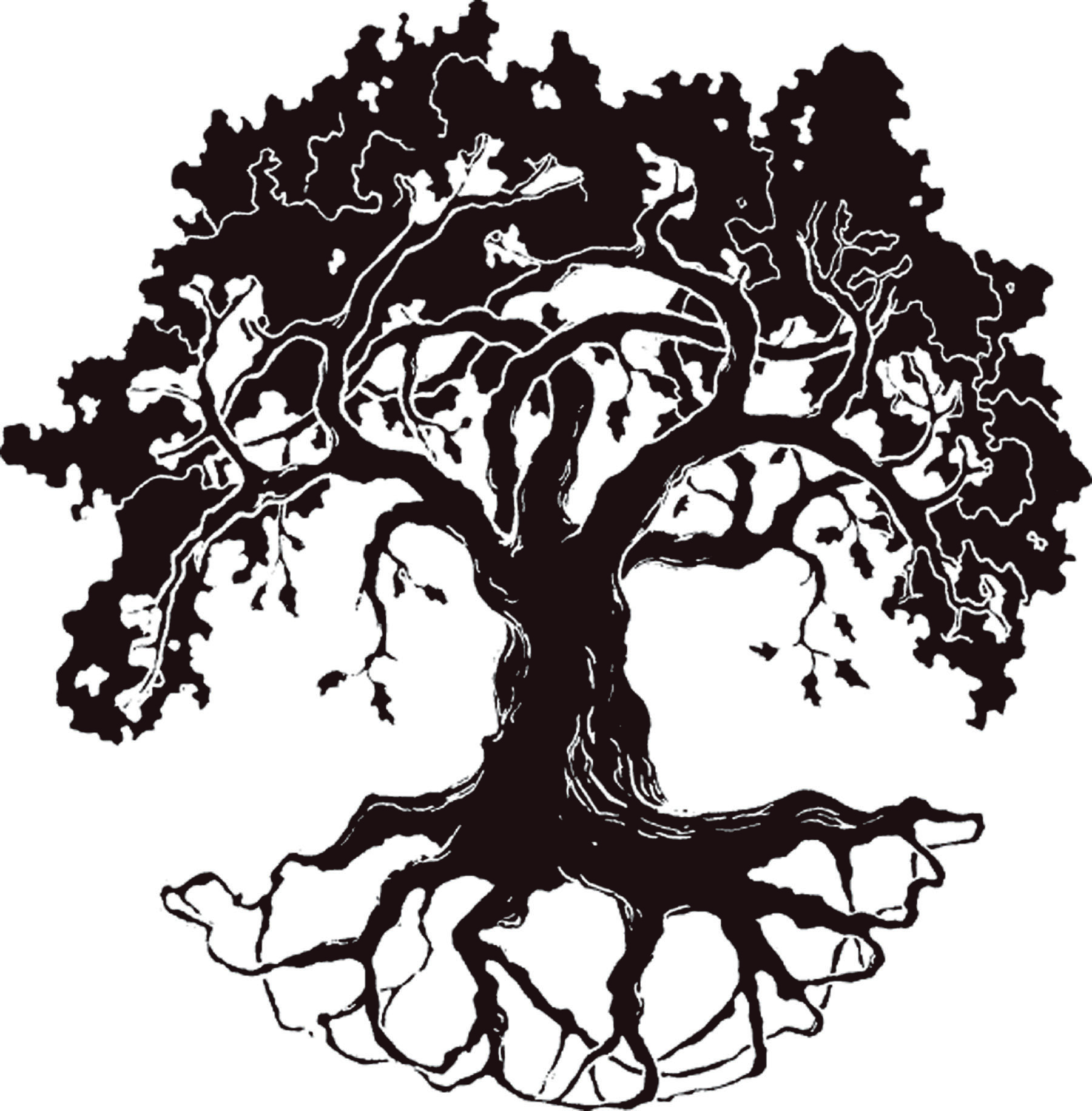 Oak tree silhouette clip art free.
