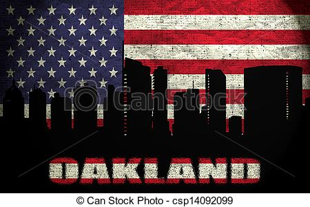 Stock Illustration of View of Oakland City on the Grunge American.