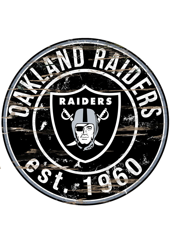 Oakland Raiders Established Date Circle 24 Inch Sign.