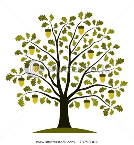 Oak tree with heart clipart.