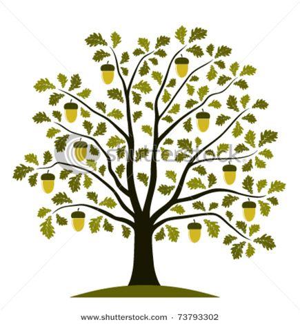 Oak tree with heart clipart.