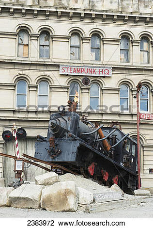 Stock Photo of Train sculpture in front of the Steampunk HQ.