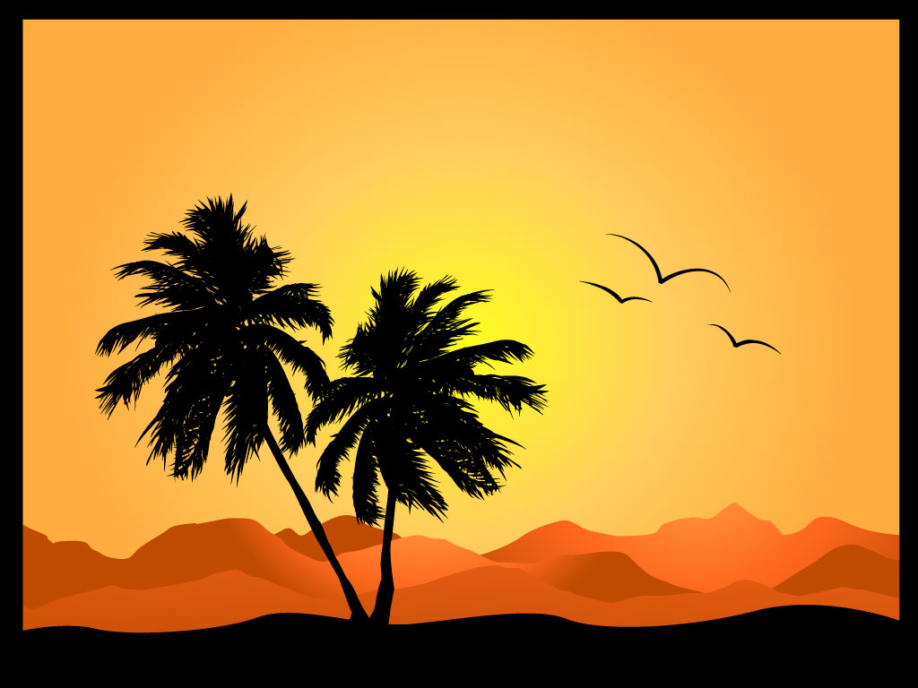 Desert Oasis Clipart Black And White.