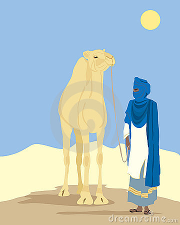 Touareg And Camel Royalty Free Stock Image.