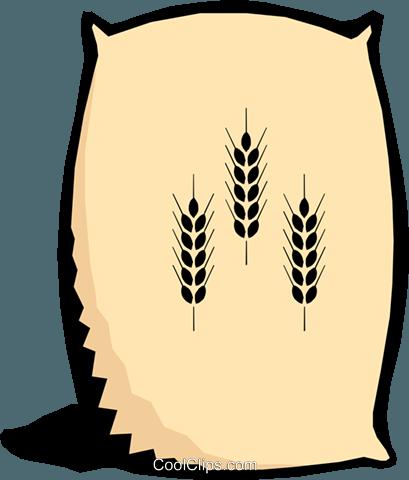 Bag of flour Royalty Free Vector Clip Art illustration.
