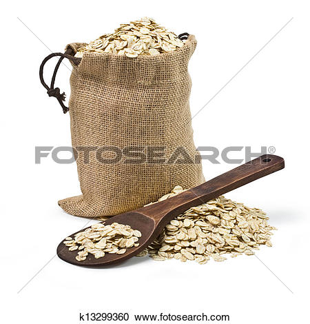 Stock Photography of bag of oats and a wooden spoon k13299360.