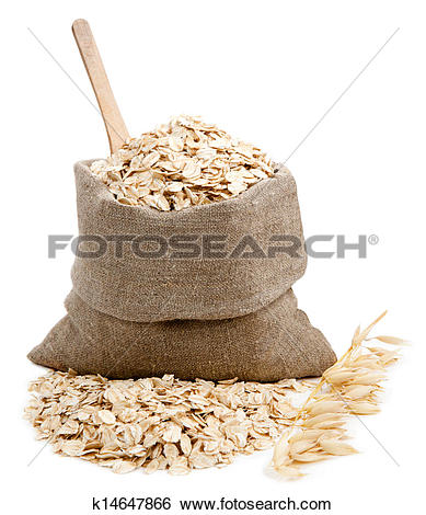 Stock Images of Rolled oats in a bag isolated on white k14647866.