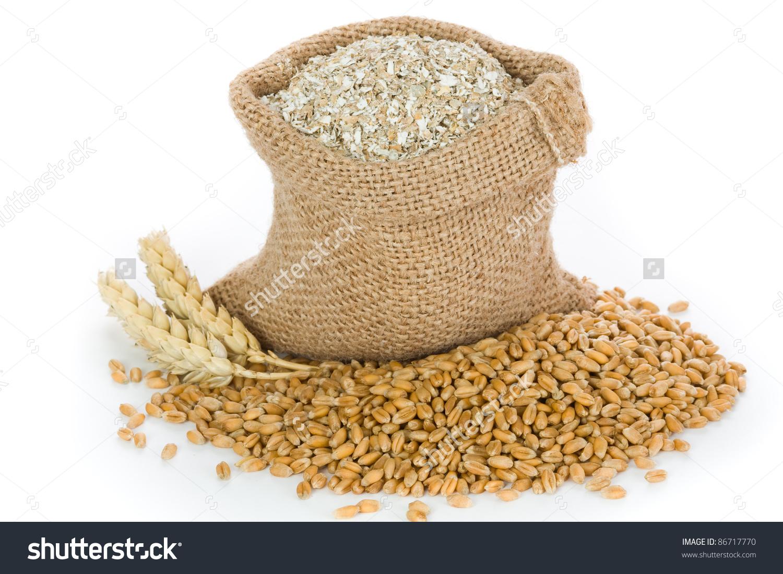 Sack Bran Wheat Grain Stock Photo 86717770.