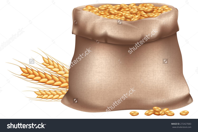 Sack Wheat Grain Photorealistic Eps10 Vector Stock Vector.