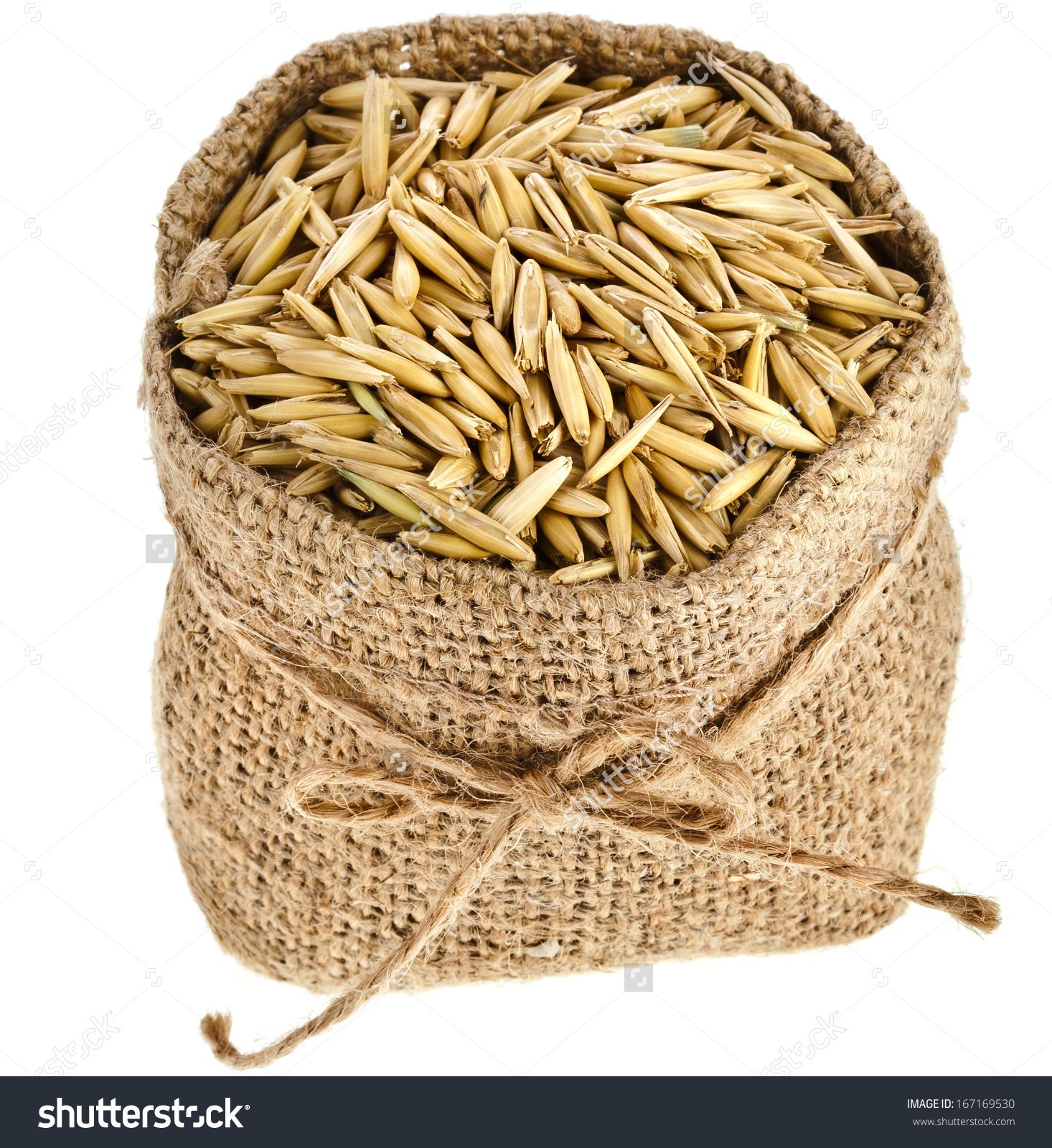 Oat Seed Grain Burlap Sack Bag Stock Photo 167169530.