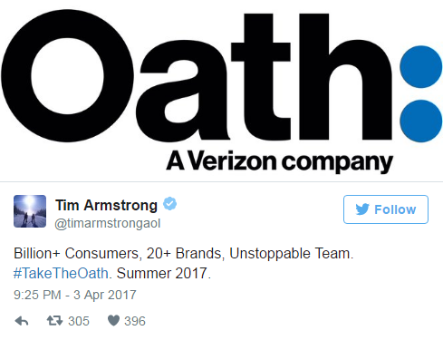 AOL + Yahoo = Oath. Seriously.