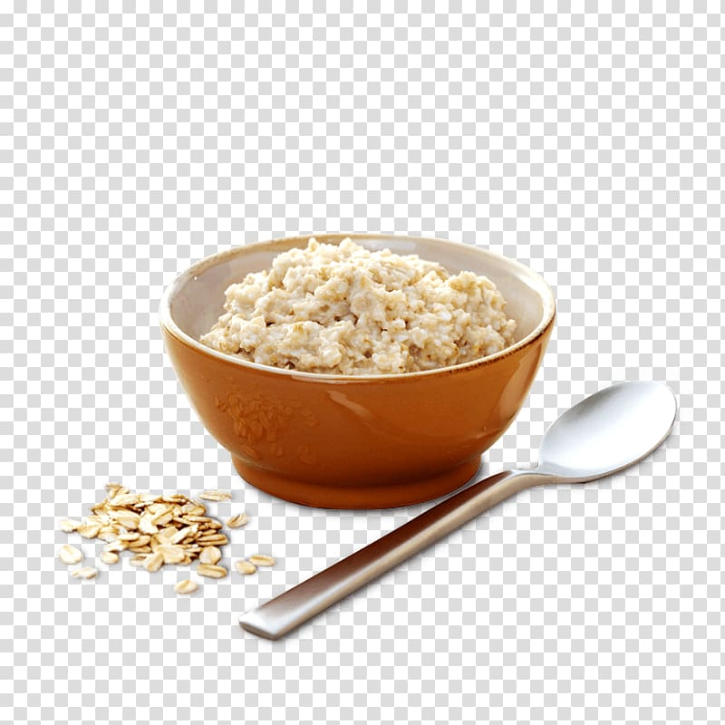 Oatmeal with orange ceramic bowl, Breakfast cereal Porridge.