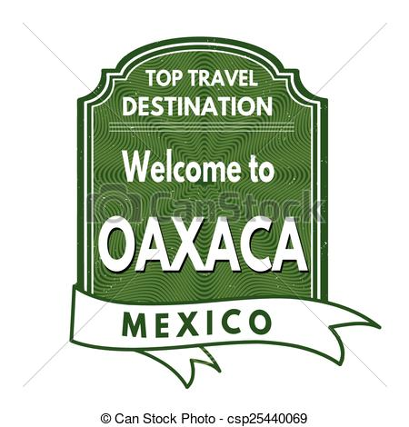 Clip Art Vector of Welcome to Oaxaca stamp.