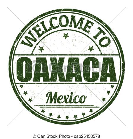 Vectors Illustration of Welcome to Oaxaca stamp.