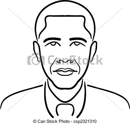 Vector Clipart of Barack Obama line drawing.