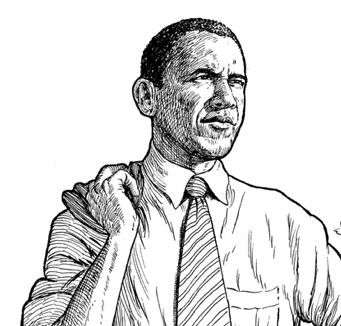 Obama Black and White Clip Art.
