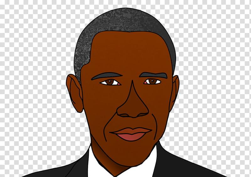 Barrack Obama Cartoon Portrait transparent background PNG.