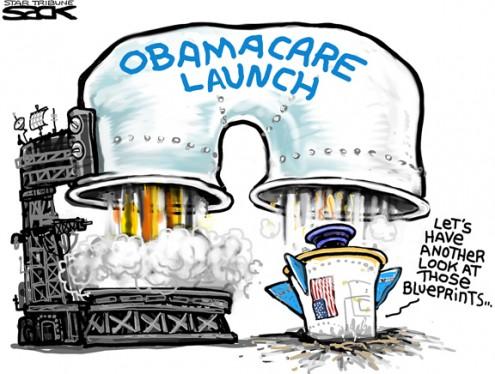Sack cartoon: Obamacare health.