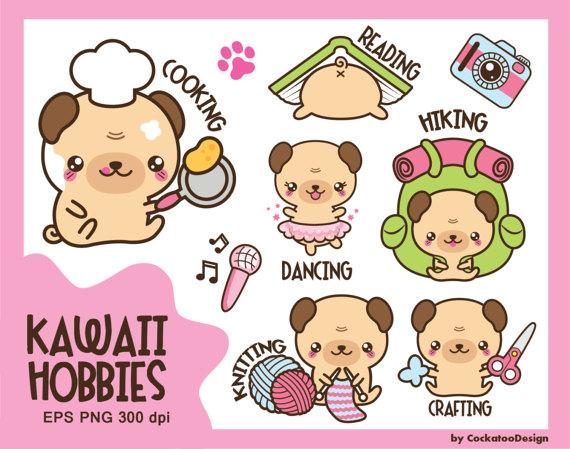 Kawaii clip art, kawaii pug clip art, kawaii clipart, hobby.
