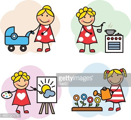 Cartoon woman hobby Clipart Image.