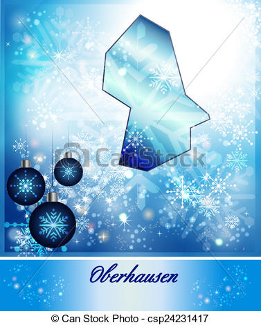 Clipart of Map of Oberhausen in Christmas Design in blue.