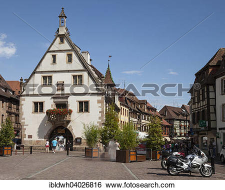 """Stock Images of """"The Corn Exchange on the marketplace, Obernai."""