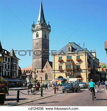 Stock Images of Town Hall. Obernai. Alsatian Wine Road. France.