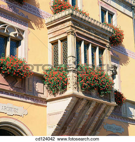 Stock Photo of Town Hall. Obernai. Alsatian Wine Road. France.