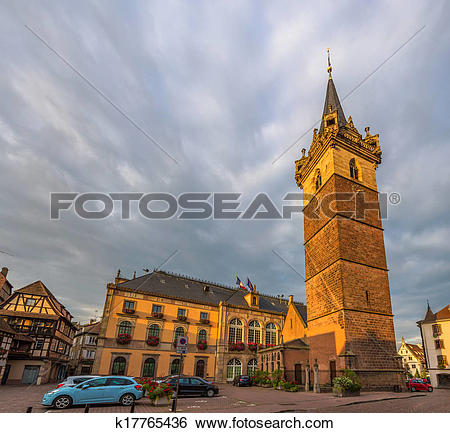 Stock Images of Watchtower and City hotel in Obernai.