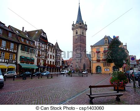Stock Photography of central place of Obernai city.