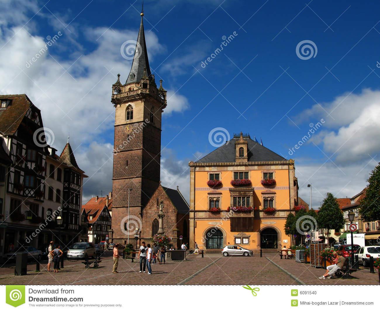 Obernai Town Center, Alsace, France Stock Photo.