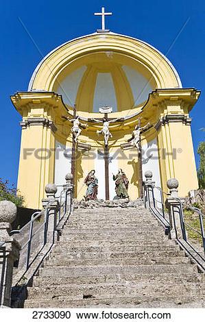 Stock Photography of Low angle view of church, Wallfahrtskirche.