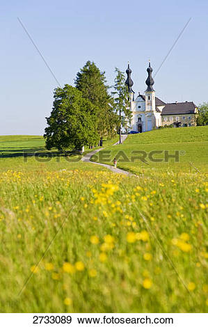 Stock Photograph of Church in field, Wallfahrtskirche Maria Buhel.