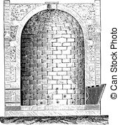 EPS Vector of German Blast Furnace, vintage engraved illustration.
