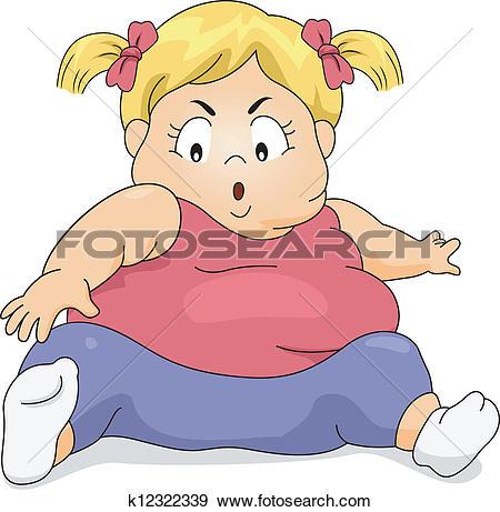Clip Art of Obese Kid Exercising k12322339.