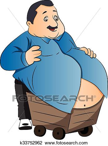 Vector of an obese man with stomach on wheelcart. Clipart.