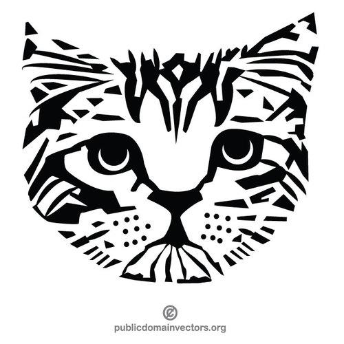 Kot monochromatyczne wzornika obiekty clipart.