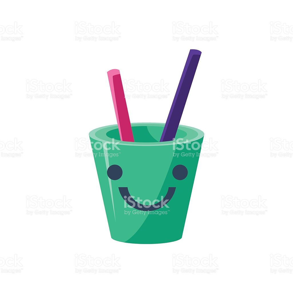 Pencil Holder Cup Primitive Icon With Smiley Face stock vector art.