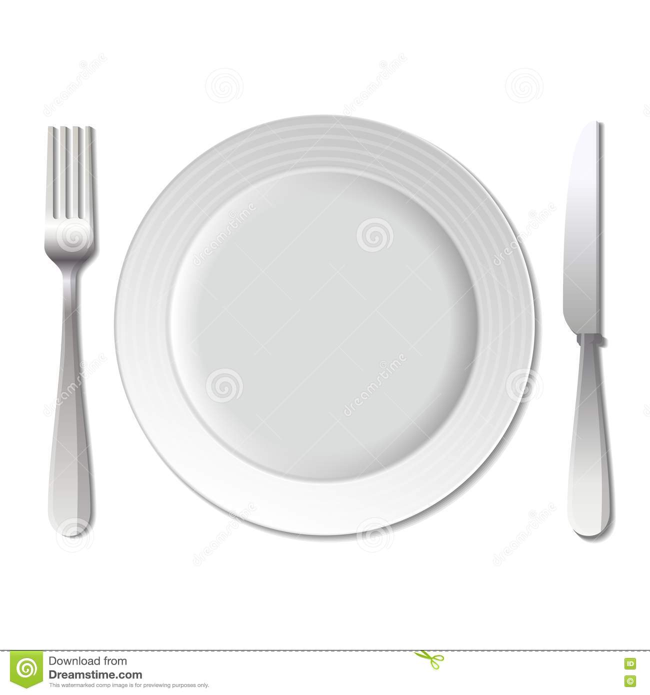 Dinner Plate, Knife And Fork. Vector. Stock Image.